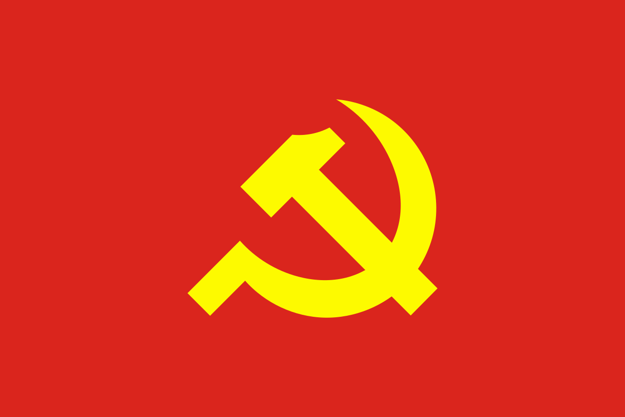 ideology of communism. symbol of communism is hammer and sickle on a red flag.