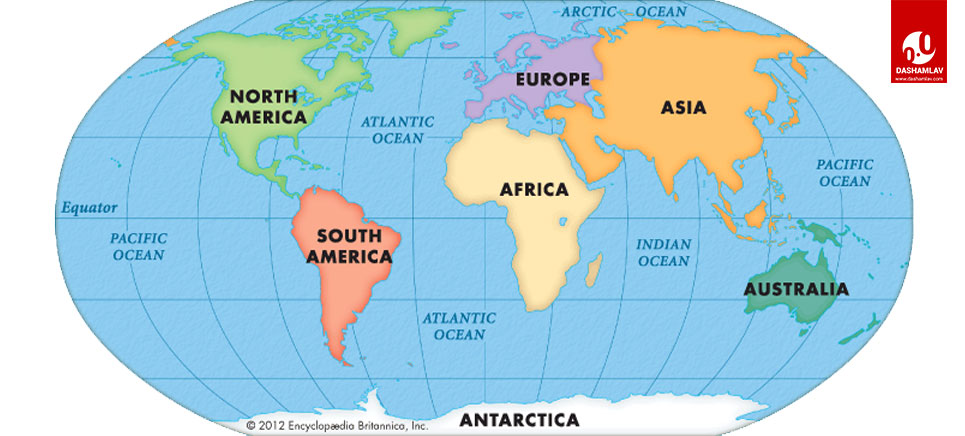 map of the seven continents of the world
