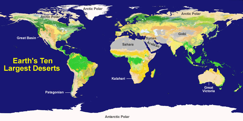 map of the major deserts of the world