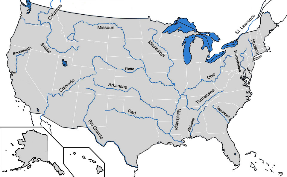 map of major rivers in the usa